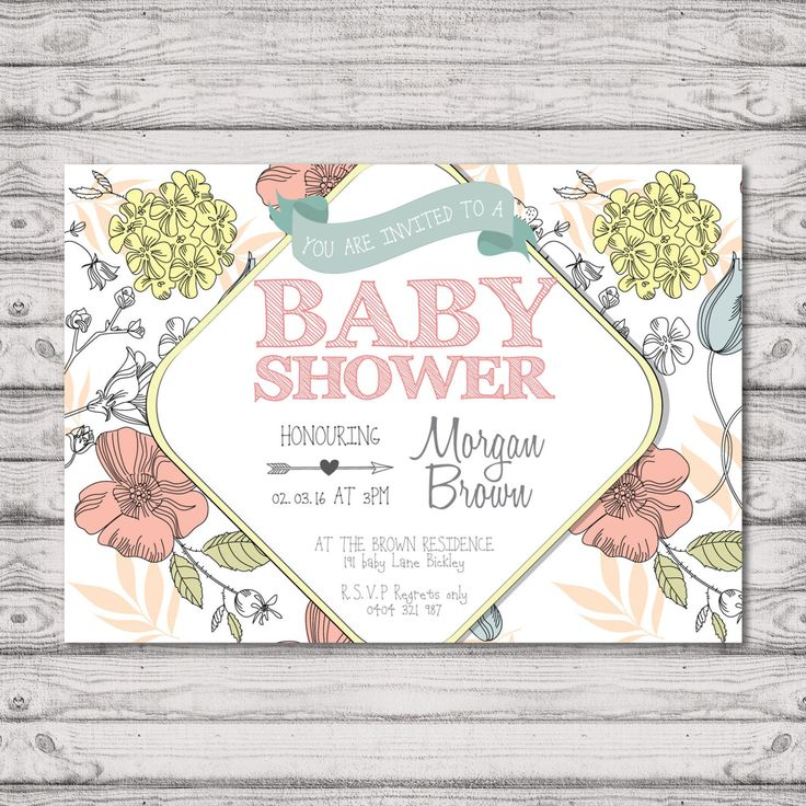 Floral Baby Shower Invitation - Print At Home File or Printed Invitations - Buttercup Pretty Cute Unique Personalised Baby Shower Invite by PaperCrushAus on Etsy