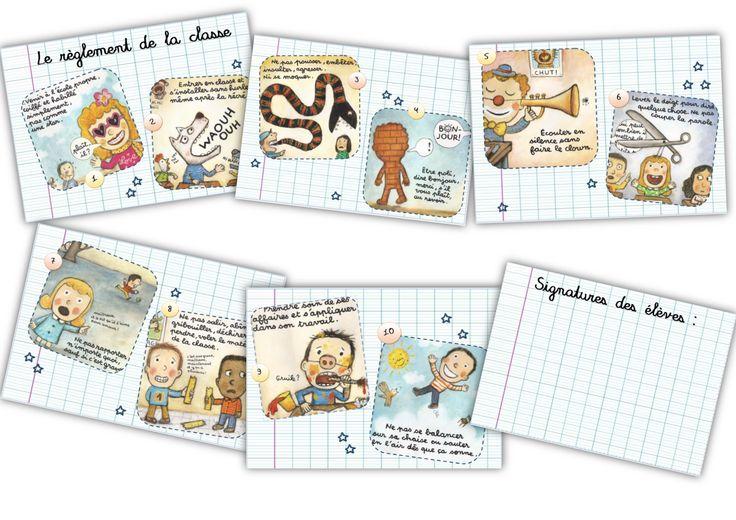 6 petites affiches pour le r glement de la classe d 39 apr s les dessins de l 39 illustrateur de moi - Coloriage pour la maitresse ...