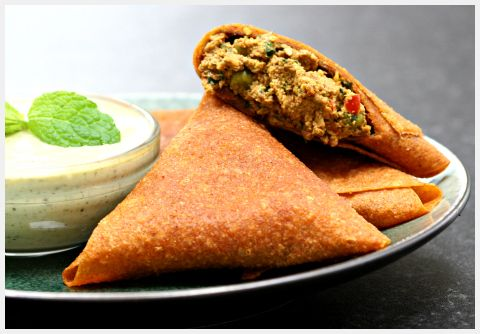 Raw food recipe - Vegetable Samosas with Cucumber & Mint Raita