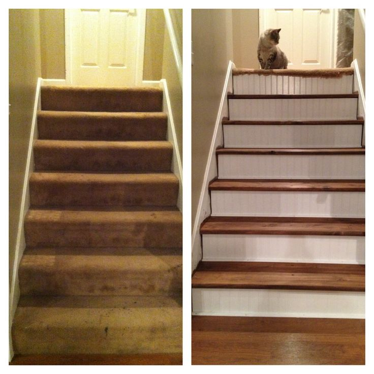 Best Stair Tread Redo Ripped Up The Carpet Replaced Treads Bead Board On Risers I Did That 400 x 300