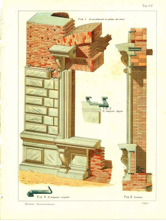Italian Architecture Technical Drawing Brick by CarambasVintage, $16.00