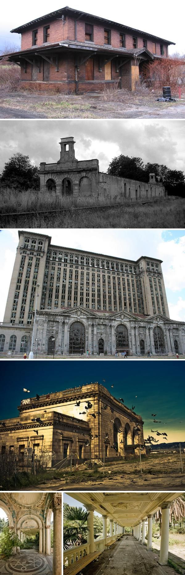 With tracks dismantled or abandoned and no trains to serve them, railway stations have also been left to the mercy of dereliction, demolition or developers.  Stations range in size and stature from small provincial holts to magnificent terminals like Michigan Central Station in Detroit, and while some are repurposed, most are either bulldozed or left to the vandals.