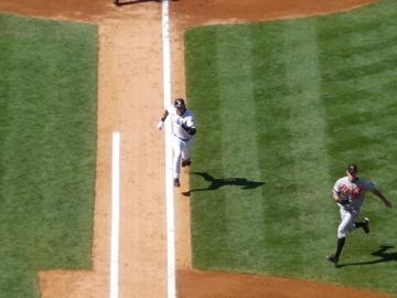 Running towards first base