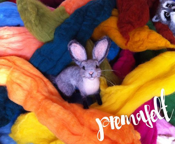 Needle felted animal easter rabbit bunny cute miniature