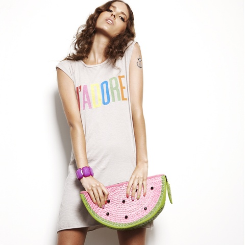 YAY we LOVE Chip Chop's Watermelon Straw Clutch very Carrie Bradshaw from http://www.stylemilkshop.com $129 only 2 left!
