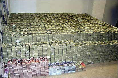 In March 2007, police in Mexico seized the largest cash haul from drug trafficking in world history. $207 Million in cash weighing 4,500 pounds, along with 200,000 Euros and 158,000 Pesos were seized.