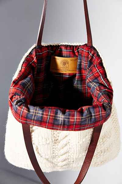 I've a sweater I would like to do this too. With a different color plaid in the inside. soft sweater-knit tote bag - love the plaid interior!