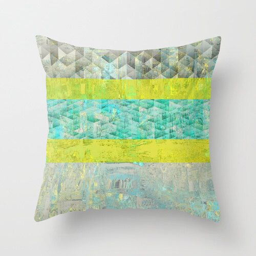 Geometric Throw Pillow Cover Teal Yellow Grey White Abstract Modern Home  Decor Living Room Bedroom Accessories