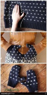 DIY mittens! Recycle an old holey sweater. Throw a hat and scarf in there too.