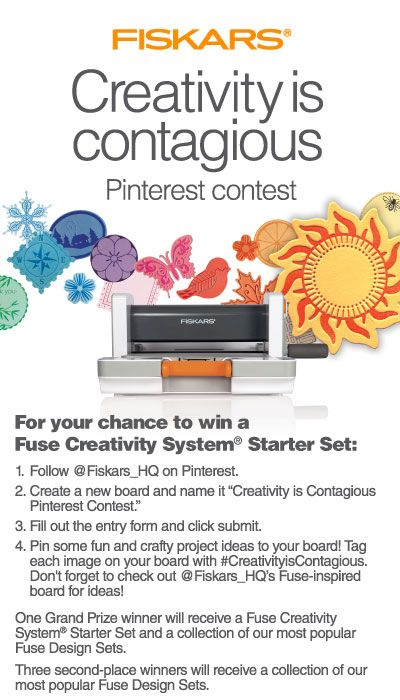 Enter for your chance to win the @Fiskars HQ Creativity is Contagious Pinterest Contest! #CreativityisContagious