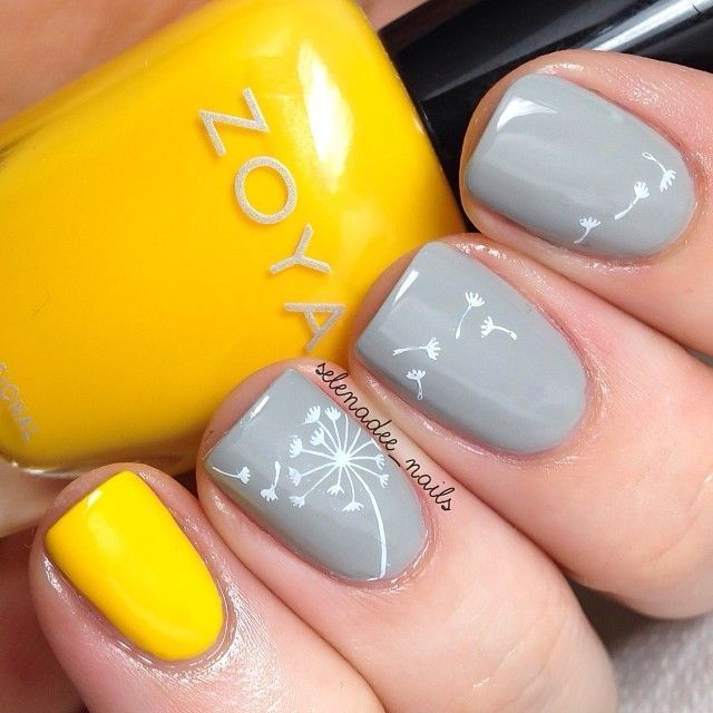 I love yellow and grey together! Love love love the dandelion on the nails too...but I would do all the nails one color.