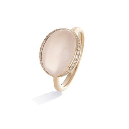 #Anello in oro rosa con #quarzo rosa e diamanti by #DonnaOro