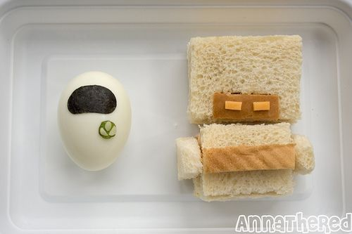 this could be cuter... but a good idea with the egg.  My daughter is currently obsessed with wall-e, so I may have to try this.