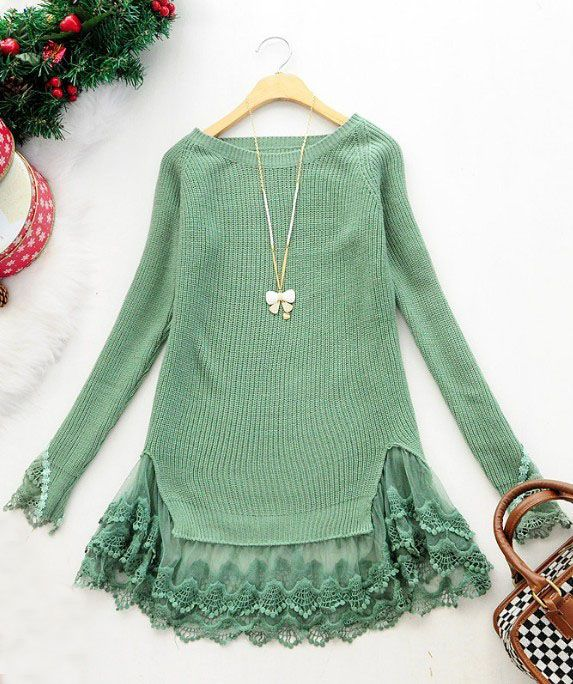 Green Long Sleeve Contrast Lace Pullovers Sweater >> Must look super cute with leggings!