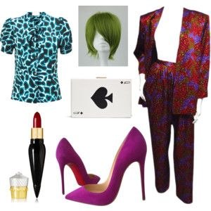 Female The Joker Batman fancy dress costume for Halloween Party. Featuring Christian Louboutin shoes and lipstick, Kate Spade playing card clutch bag, vintage Yves Saint Laurent trouser suit, Tara Starlet bow blouse, green wig