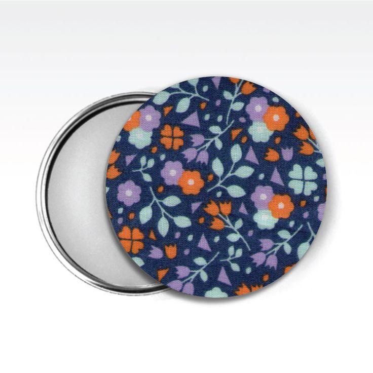 Zrcátko látkové www.udelejsiplacku.cz/eshop  udělej si placku #placky #zrcátko #udelejsiplacku #badge #pin #floral #mirror #fabric #látkové