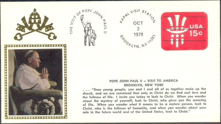 USA 1979 Silk Cover Pope John Paul II Visit to America Oct 2 Brooklyn New York…