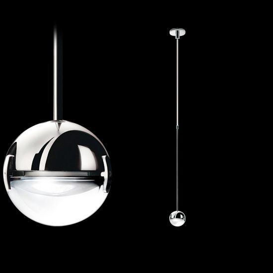 #Convivio: Lamp designed to be suspended above a dining table. It comprises a small sphere, half lens and half metal with a chromed or satined nickel finish.