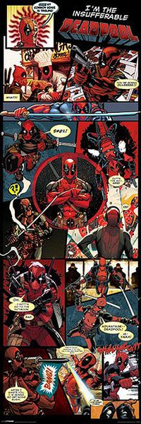 Mega póster Deadpool, cómic  Mega póster con varias imágenes de Deadpool basado en el cómic.