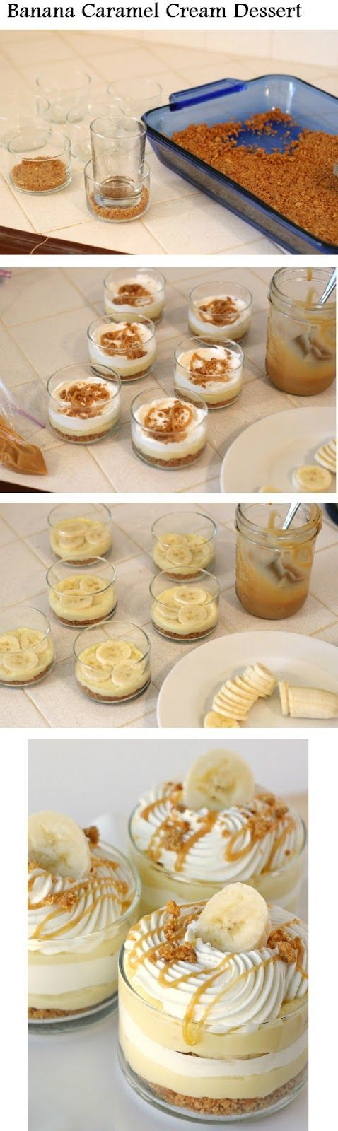 Banana Caramel Cream Dessert   Recipe Sharing Community -- I'm somewhat allergic to bananas but i want this anyway, YOLO
