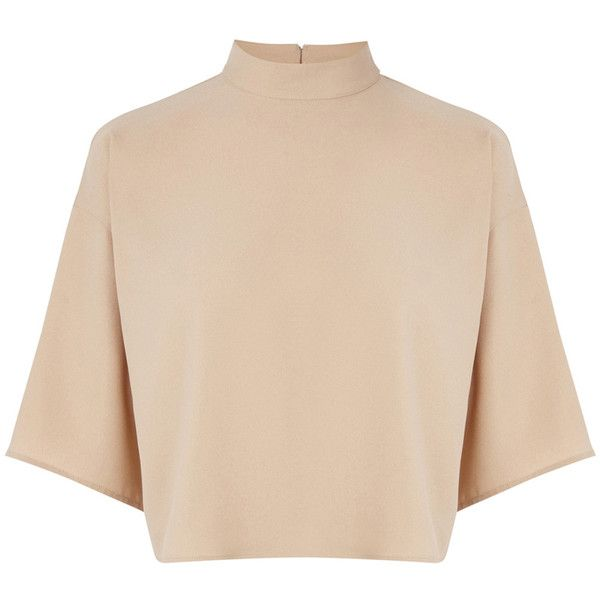 Warehouse High Neck Satin Back Top (£10) ❤ liked on Polyvore featuring tops, t-shirts, shirts, crop tops, cream, cream shirt, boxy crop top, tee-shirt, high neck crop top and t shirts