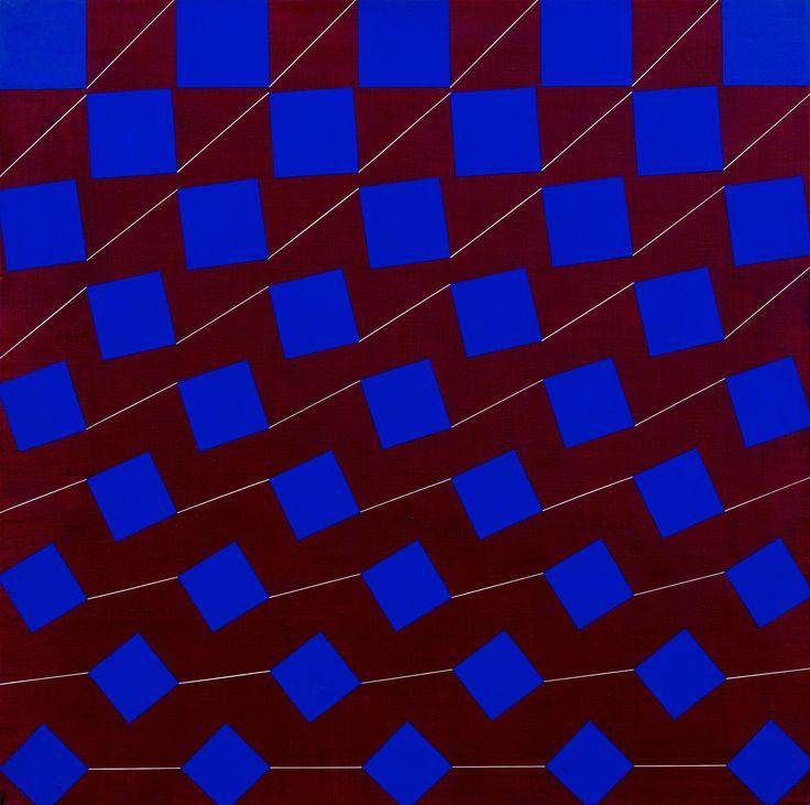 Matti Kujasalo: Sininen neliö punaiselle, 1976, öljy kankaalle, 90x90 cm - Bukowskis F170