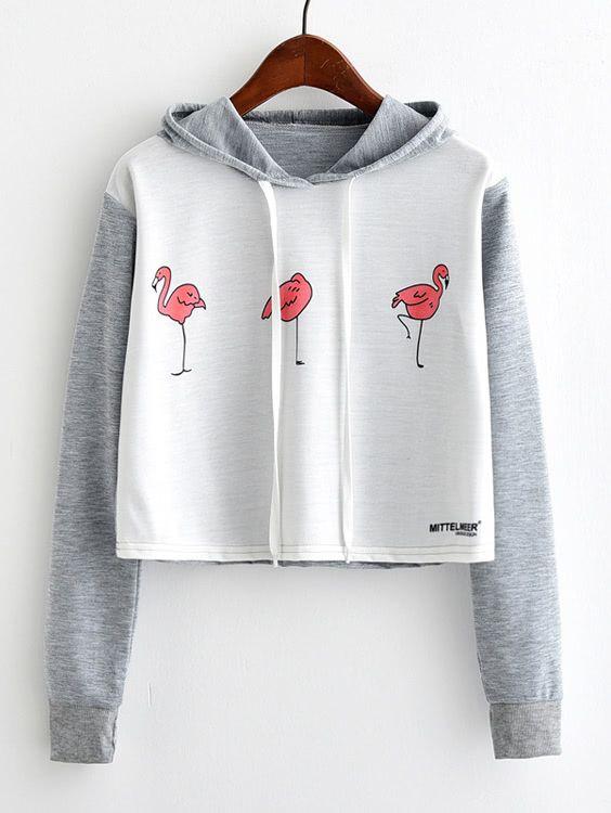 Flamingo Print Contrast Sleeve Hoodie