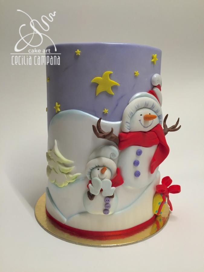 Snowman landscape Cake
