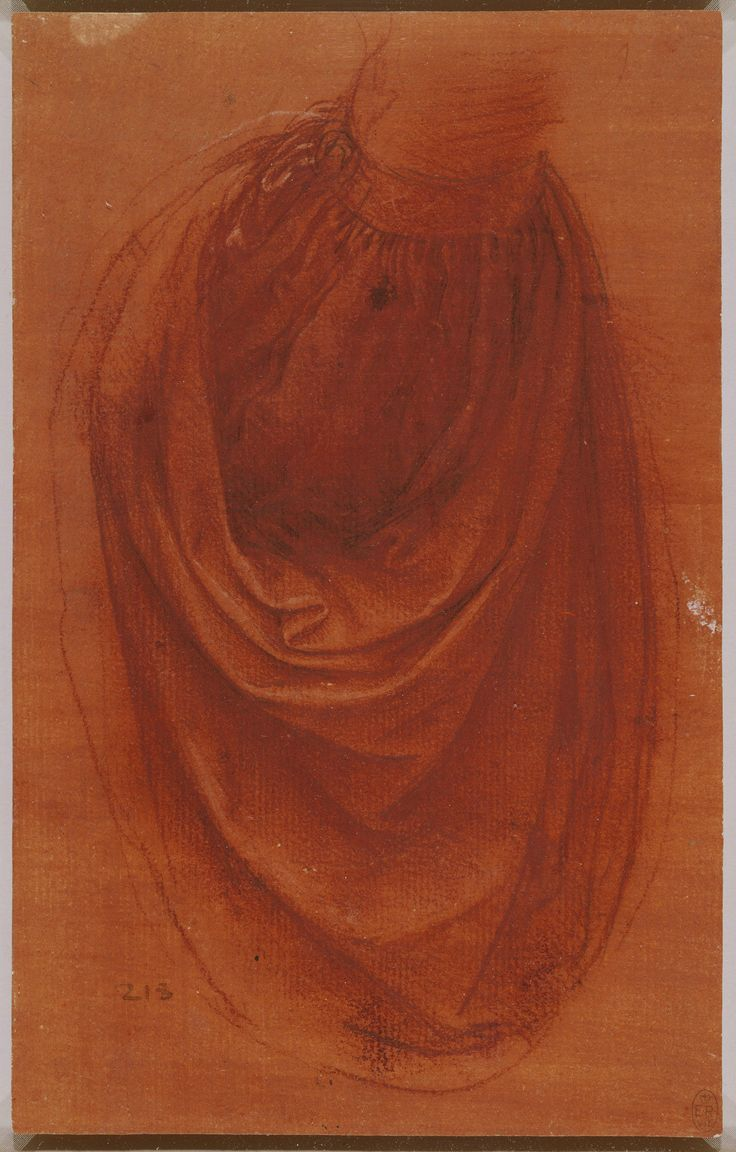 Leonardo da Vinci, 1452-1519, Italian, A study of drapery for a Salvator Mundi, c.1504-8. Red chalk with touches of white chalk and pen and ink on pale red prepared paper. Royal Collection Trust, Windsor. High Renaissance.