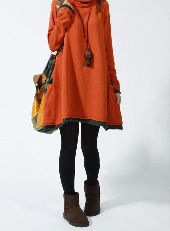Casual Long Sleeved Sweater Dress Knitwear Blouse Shirt- Orange