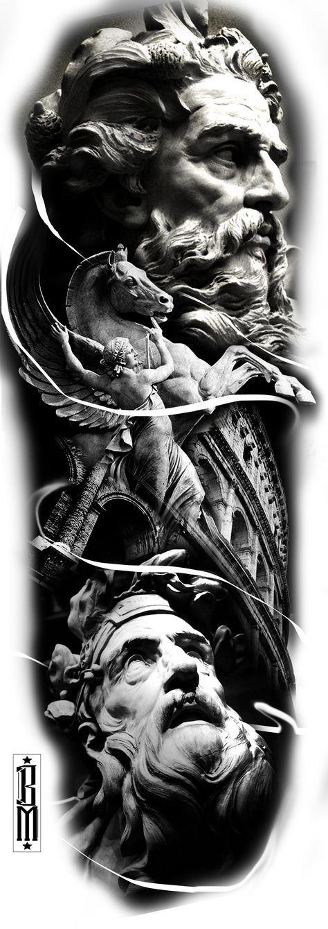 zeus greek tattoo design sleeve leg black and grey tattoos