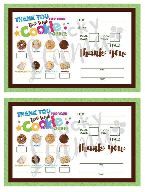 Listing is for a printable Girl Scout Cookie thank you/receipt design. This can be delivered with your cookies as a thank you and also a great way to get your customers coming back for more!!!!  You will receive a printable 8.5 x 11 with 2 order forms on one page as well as a bonus of an additional layout with 4 smaller ones per page (same design). This makes it easier to print with more options! You will receive your instant downloads following payment. Purchase, download one time and p...