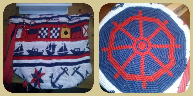 Tapestry-tas gehaakt voor mijn schoonmoeder. De patronen zijn borduurpatronen gevonden op Pinterest. De vlaggen zijn nautische vlaggen en hiermee is haar naam verwerkt in de tas.