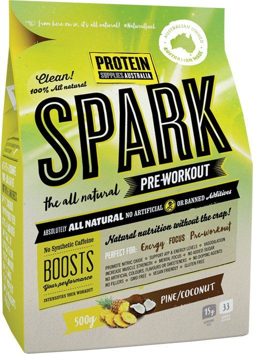 Protein Supplies Australia Spark (All natural pre-workout) Pine Coconut 500g