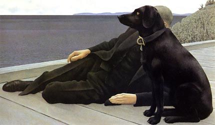 Alex Colville  (Canadian ~ Magic Realism). This is the first painting of Alex Colville that caught my eye, and it still has it.