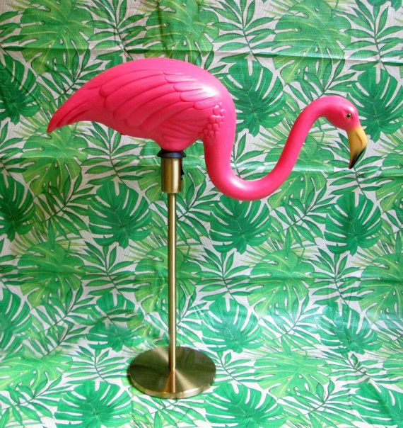 Pink Flamingo Lamp with Gold Base Grazing by ThriftyBitchVintage