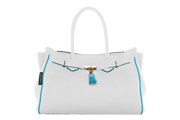 batija bag large in white and turquoise