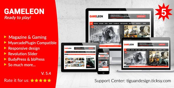 Gameleon v5.4is a WordPress theme for online games, arcade games, magazine, newspaper, editorial, publishing, review or gaming site.  Gameleon v5.4 WordPress Theme Free Download Download  Features  Magazine or Classic Blog Style Responsively Adapts to any Device Responsive Videos Responsive...
