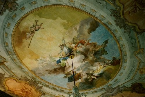 """Francesco Zugno, 1773 , """"Apotheosis of St. Lawrence Giustiniani"""" fresco on the ceiling of the piano nobile of the Episcopal Palace Giustiniani in Murano, near Venice.    Francesco Zugno was an Italian painter of the Rococo period born in Brescia. Among his masterworks is a series of wall frescoes of figures in quadratura (illusionistic) balconies."""