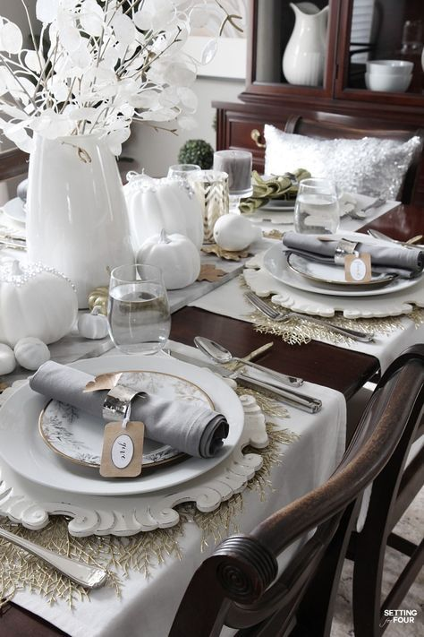 How to set an elegant Thanksgiving table - for less! - by starting with your everyday white dishes and adding a few EASY DIY decor ideas!