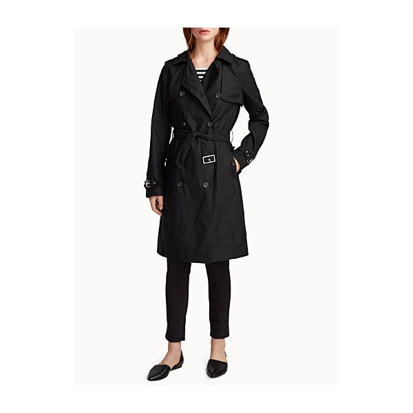 Simons Authentic cotton satin trench (125 CAD) ❤ liked on Polyvore featuring outerwear, coats, button coat, lined trench coat, white trench coat, lightweight trench coat and button trench coat
