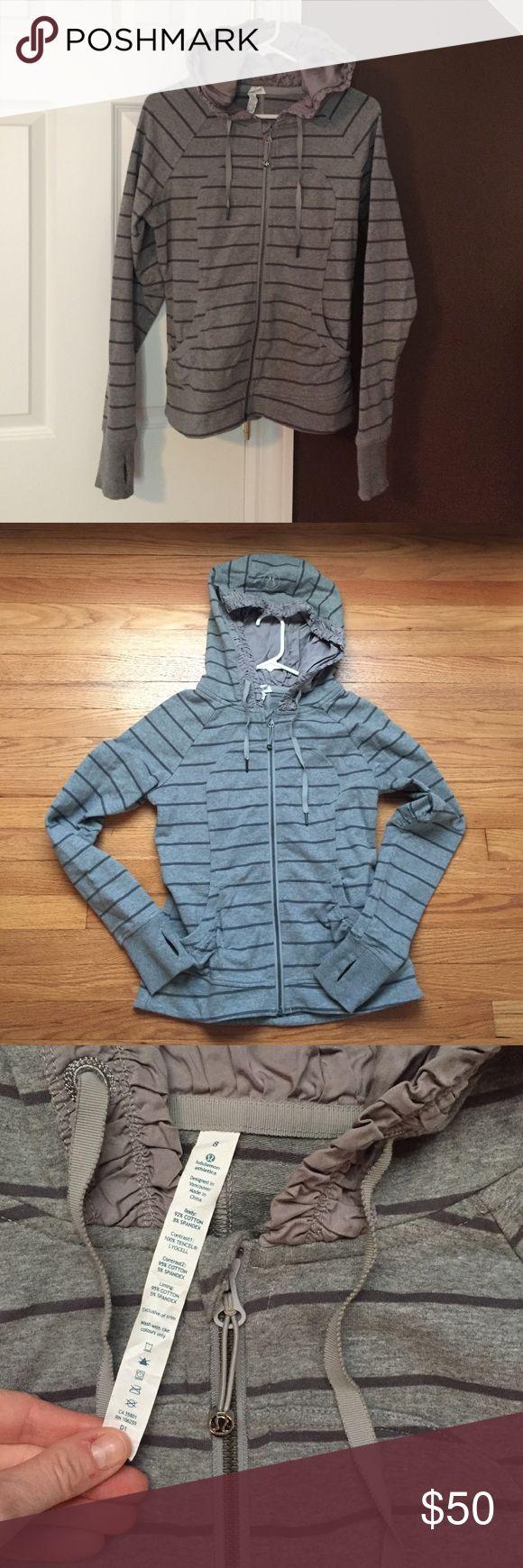 Lululemon hoodie, great condition! Lulu hoodie! Rip tag, thumb holes, cute ruffle hood! No flaws, great condition! lululemon athletica Tops Sweatshirts & Hoodies