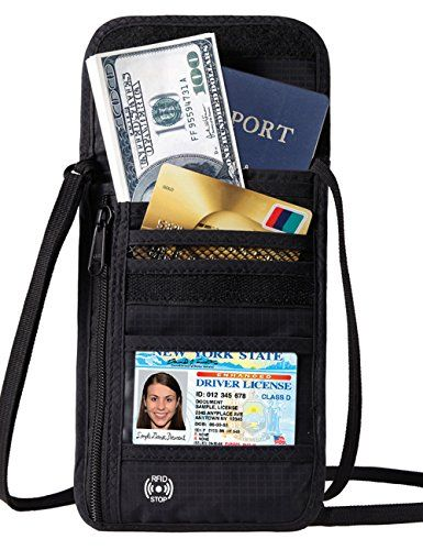 Defway Passport Holder RFID Blocking Travel Wallet Waterproof Hidden Pouch  RFID BLOCKING----The travel wallet lined with high-tech nano-metal shielding material to block the outside RF signal to prevent the credit card from short distance wireless scanning, ensuring that your chips of cards and passport information are not being illegal stole and copied by remote electronic device, effectively prevent important confidential information of cards or others from leaking.  WATERPROOF MATE...