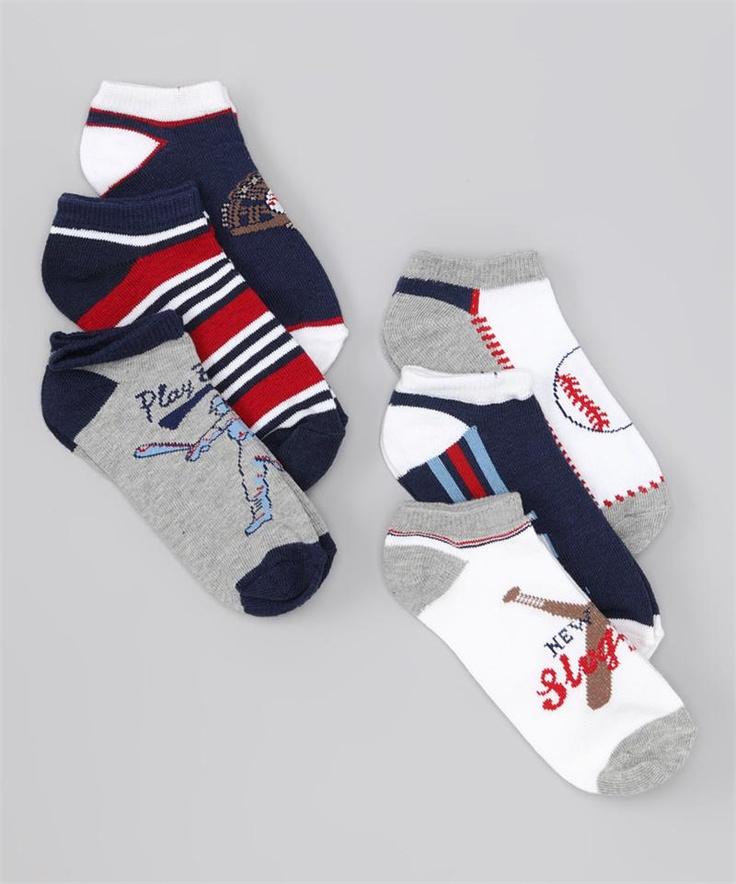 6-Pack Baseball Socks by Vitamins Baby #Baseball #Toddler #Socks
