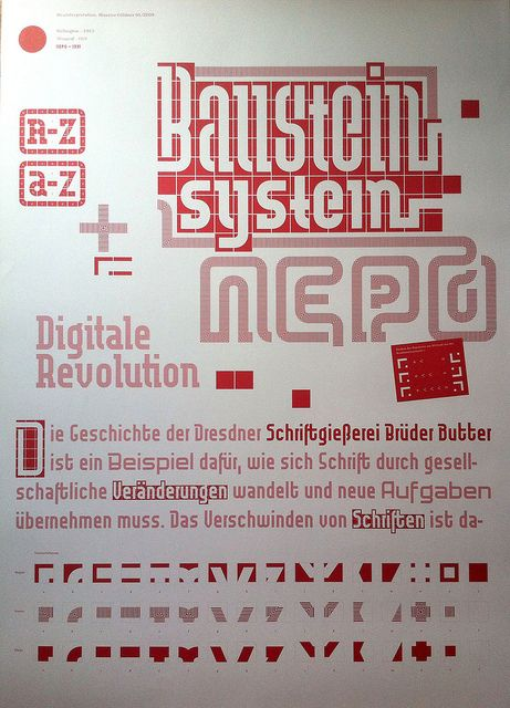 Ne-Po modular type system, digitally revived by Maurice Göldner as part of his studies at the HBG Leipzig in 2009 (alongside Marggraff and Wellington). HBKsaar students Maria Sieradzki and Daniel Weiand turned Ne-Po into woodtype in 2015. #typespecimen #imageastype
