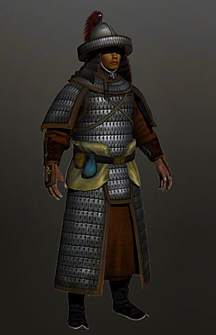 """A heavy Song dynasty guard. Reproduced from a Song dynasty print, labeled as a """"guard."""" The barbarian Liao and Jin dynasties would have also fielded these armor and helmets for their heavy troops as well. However, the Mongols- always preferred to fight with deadly mobility rather than relying on heavy cavalry charges, would have removed the folded layer of ringed scales from the fringes of the helmets and fight with only the steel cap + lamellar aventail."""