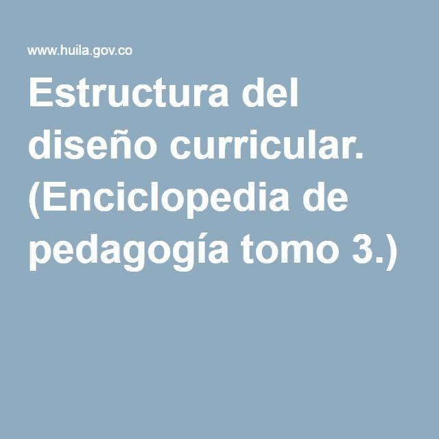 Estructura del diseño curricular. (Enciclopedia de pedagogía tomo 3.)