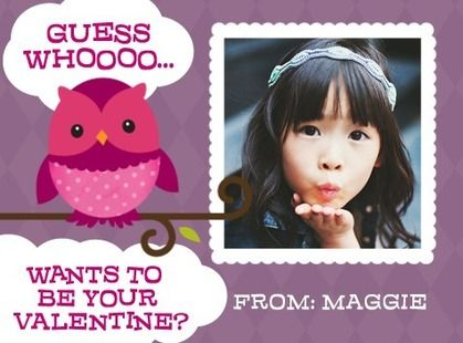 Make your children's friends 'Guess Hoot' - Valentine's Day Cards for Kids in a Deep Plum Purple