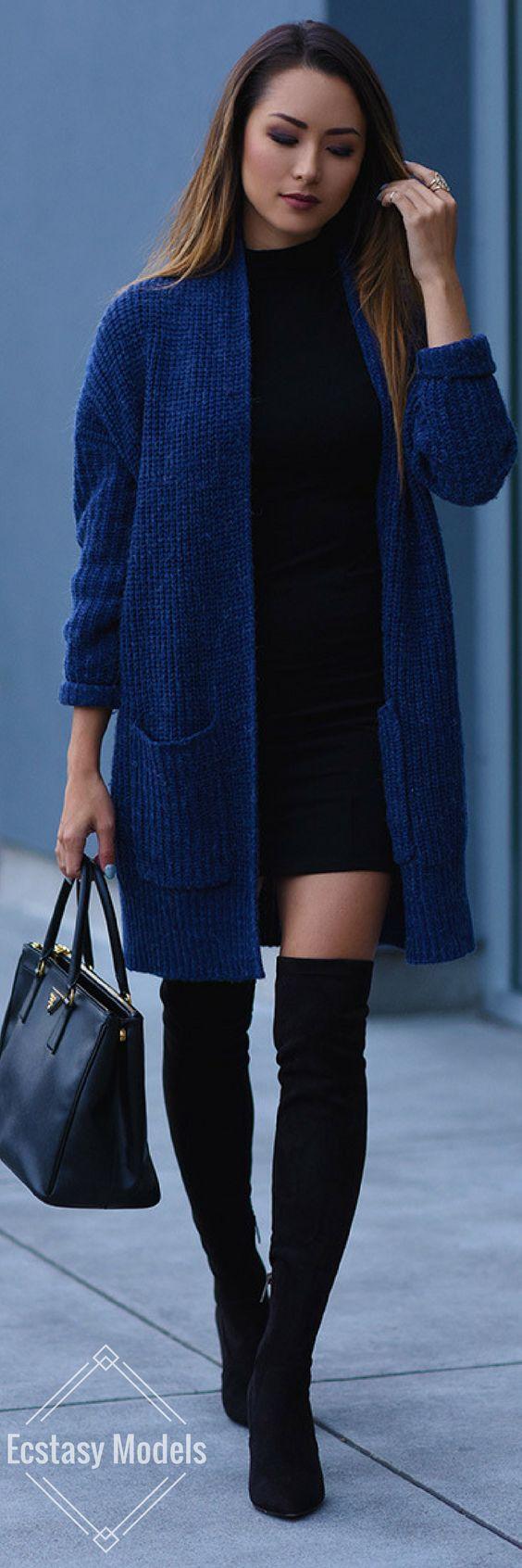 Cozy Blue Cardigan // Fashion Look by Hapatime