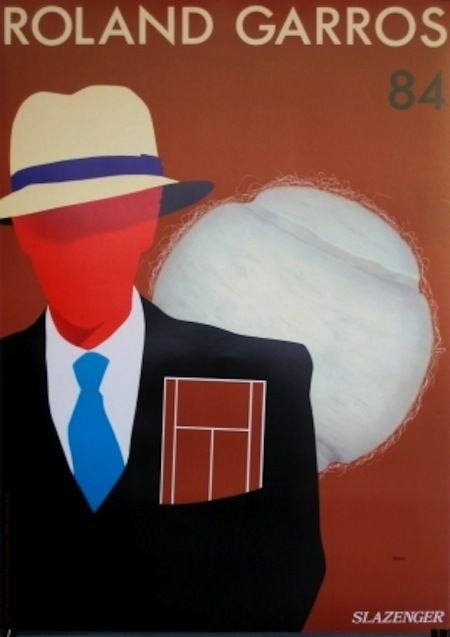1984.  par Razzia artiste français.  This one is not the official poster. I ask and it is not on the wall in Roland Garros museum.  Nevermind it is beautiful.